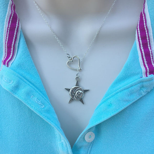 I Love Sun, Moon and Star Handcrafted Silver Lariat Y Necklace.