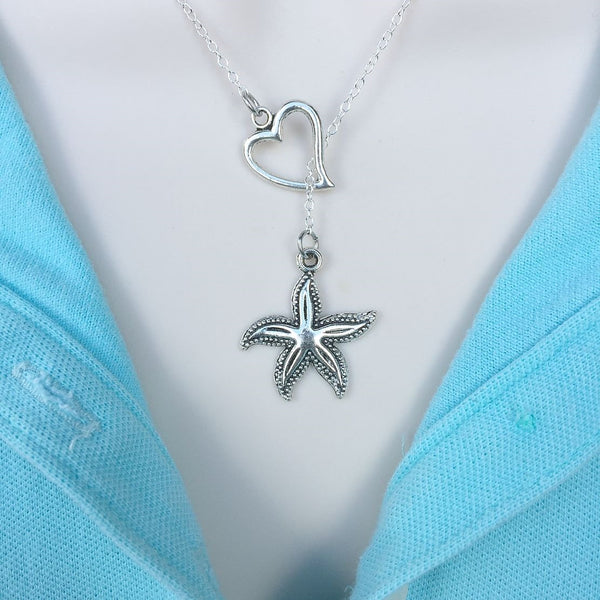 I Love Starfish Handcrafted Necklace Lariat Y Style.