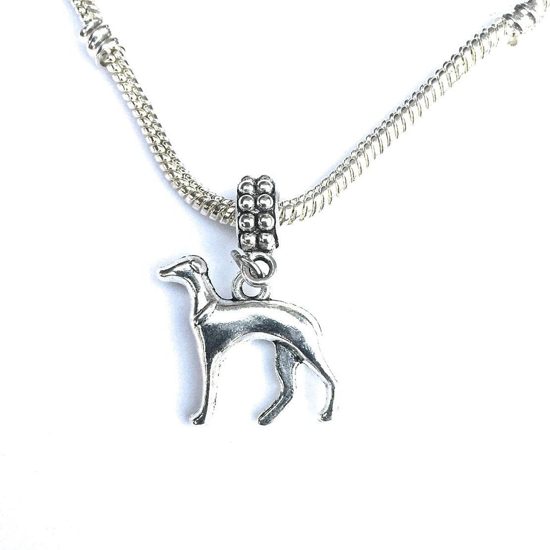 Handcrafted Silver Greyhound Dog Charm Bead for Bracelet.
