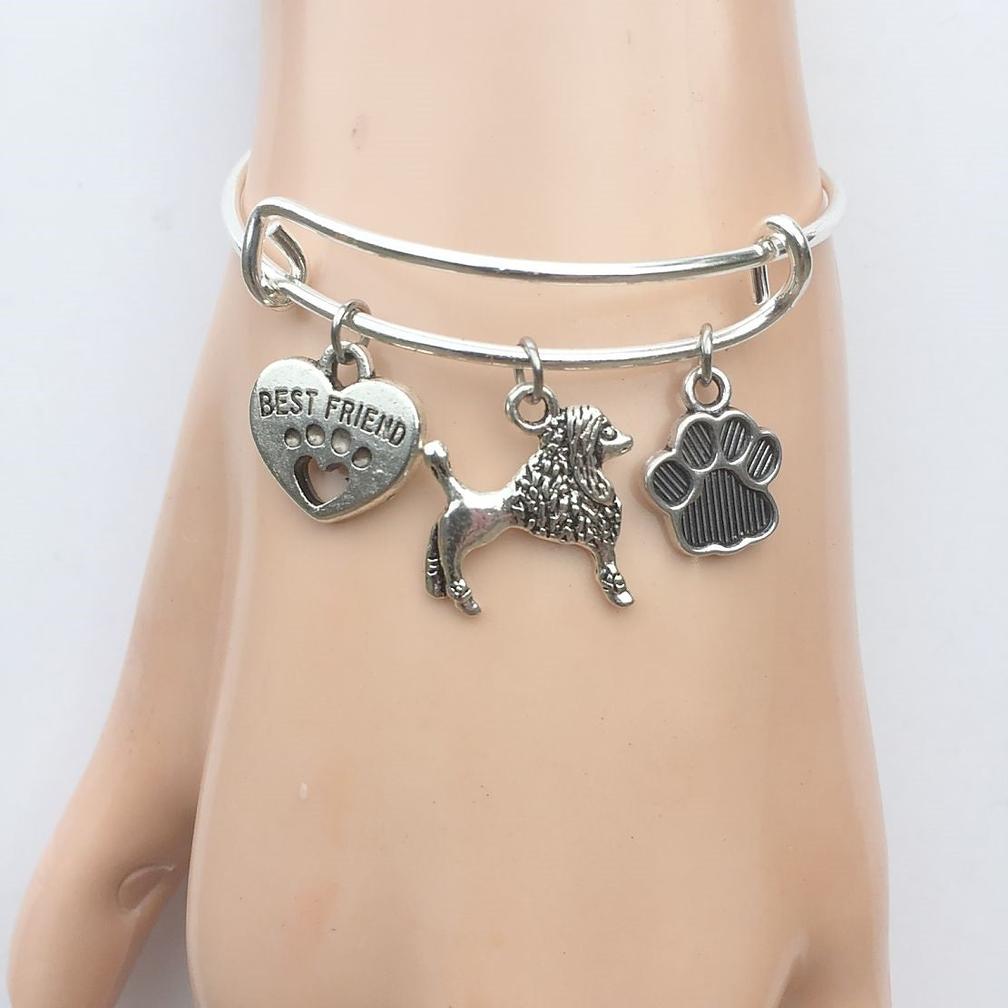 Poodle My Best friend Adjustable Charms Silver Bangle Bracelet.