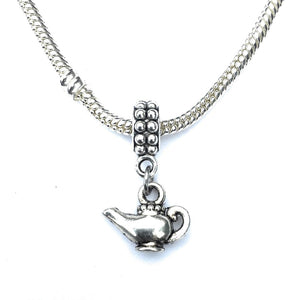 Handcrafted Silver Genie Lamp Charm Bead for Bracelet.