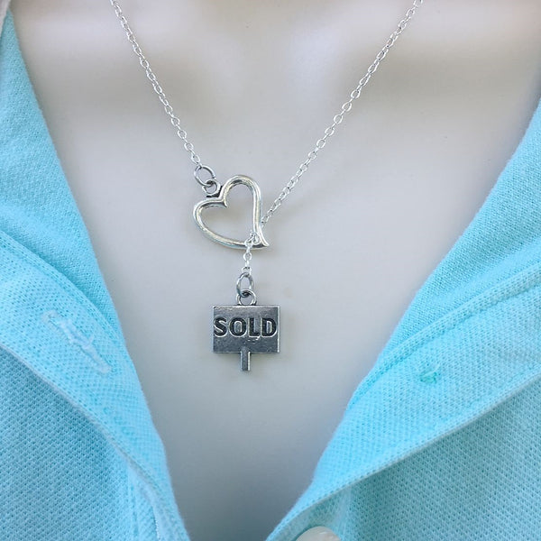 I Love Being a Realtor Handcrafted Silver Lariat Y Necklace.