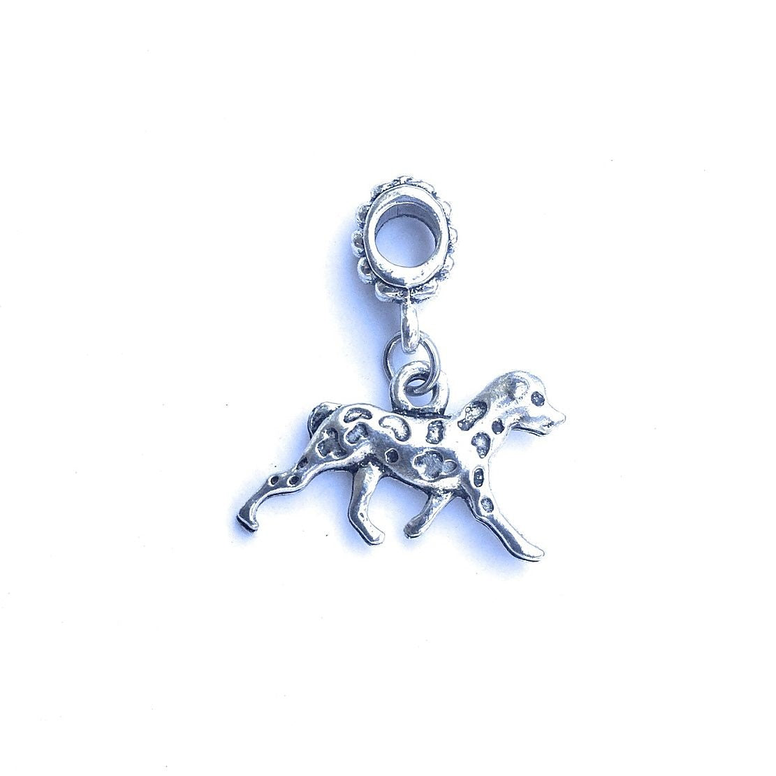 Handcrafted Silver Dalmatian Dog Charm Bead for Bracelet.