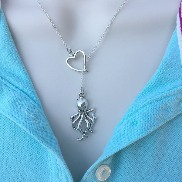 I Love Sea Life (Octopus) Handcrafted Silver Lariat Y Necklace.