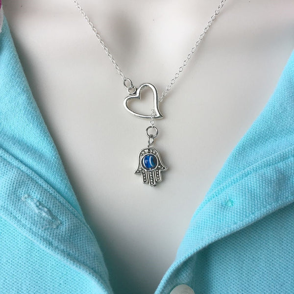 I Love Hamsa Hand Handcrafted Necklace Lariat Y Style.