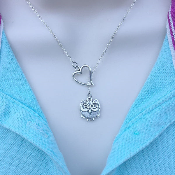 I Love Wise Bird Owl Silver Lariat Y Necklace.