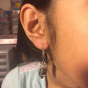 Studio Microphone and Sing Silver Dangle Earrings.