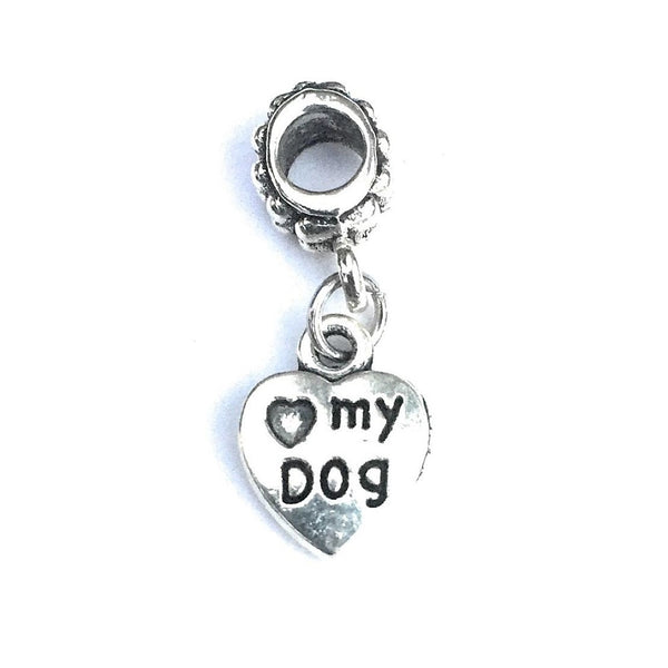 Silver Love My Dog Charm Bead for Bracelet.