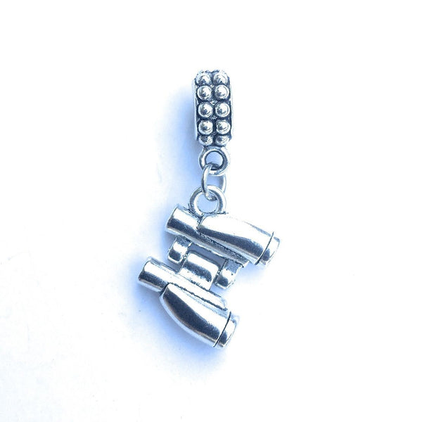 Handcrafted Silver Binocular Charm Bead for Bracelet.
