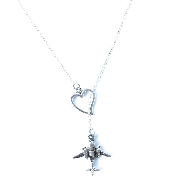 I Love Flying Airplane Silver Lariat Y Necklace.