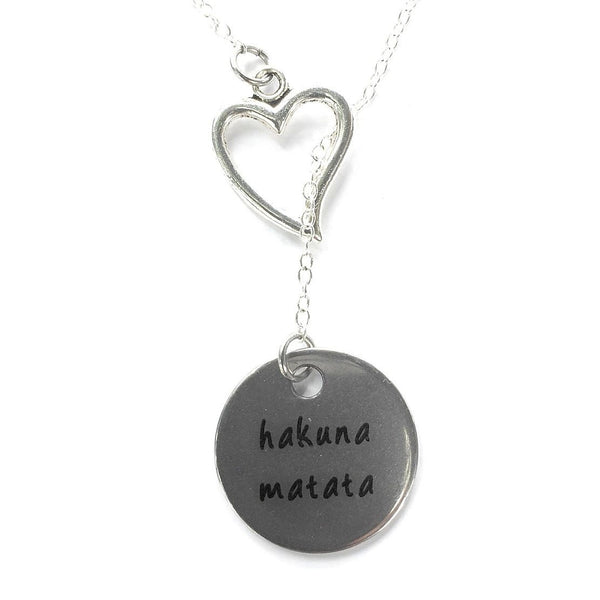 I Love Hakuna Matata Handcrafted Silver Lariat Y Necklace.