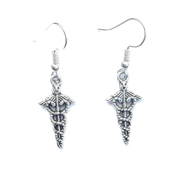 MA, PA, LVN, LPN or RN Caduceus Charms Dangle earrings.