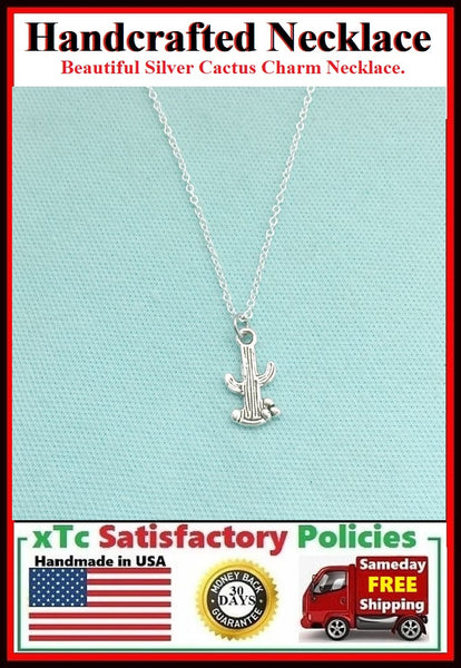 Handcrafted Silver Cactus Charm Necklace.