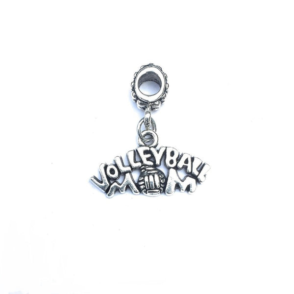 Silver Volleyball Mom Charm Bead for European and American Bracelet.