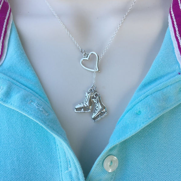 I Love Ice Skating Handcrafted Silver Lariat Y Necklace.