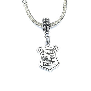 Handcrafted Silver PD Badge Charm Bead for Bracelet.