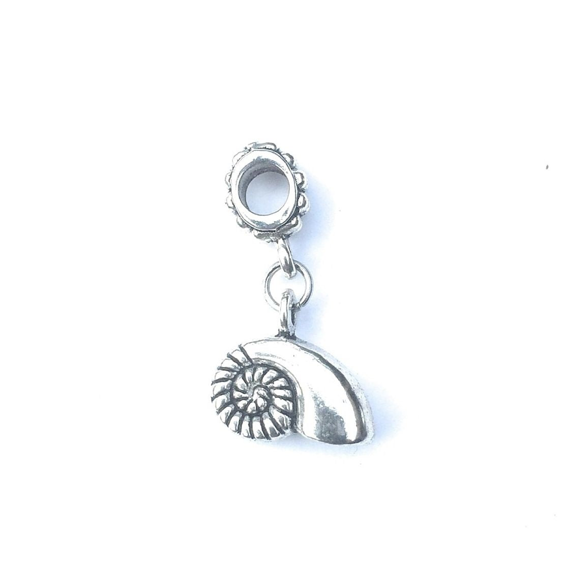 Handcrafted Silver Conch Charm Bead for Bracelet.
