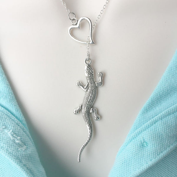 "I Love Lizard 2-1/2"" Silver Lariat Necklace."