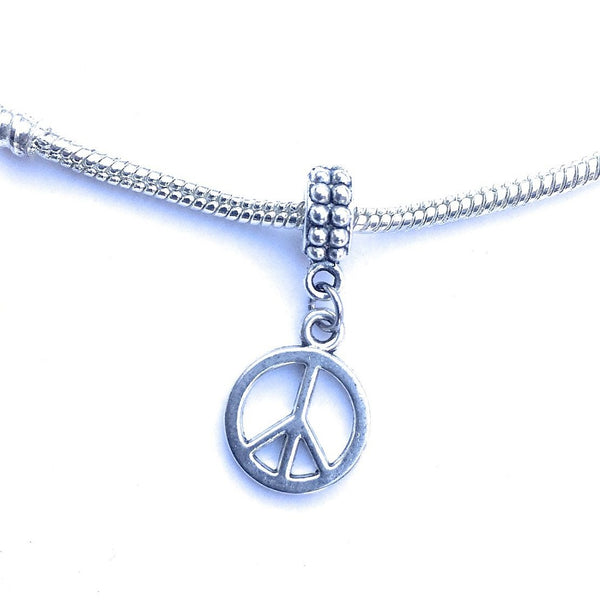 Handcrafted Silver Peace Sign Charm Bead for Bracelet.