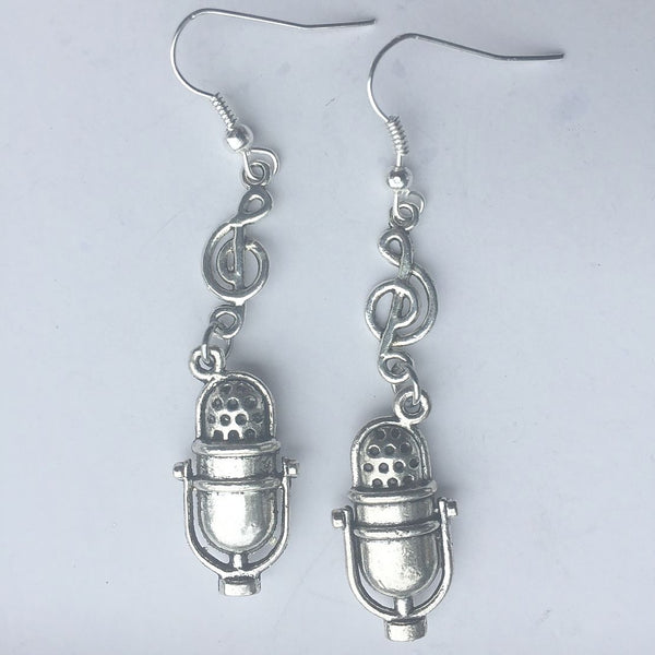 Studio Microphone and Music Note Silver Dangle Earrings.