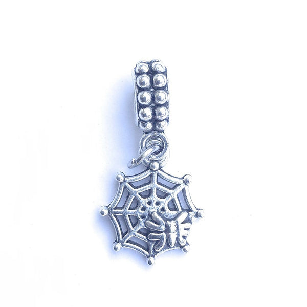 Handcrafted Silver Spider Web Charm Bead for Bracelet.