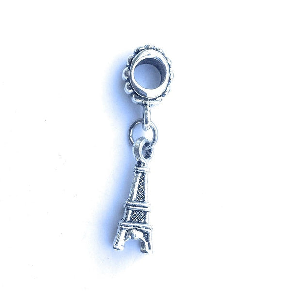 Handcrafted Silver Eiffel Tower Charm Bead for Bracelet.