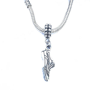 Silver Runner Shoe Charm Bead for European and American Bracelet.