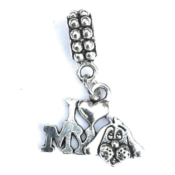 Silver I Love My Dog Charm Bead for Bracelet.