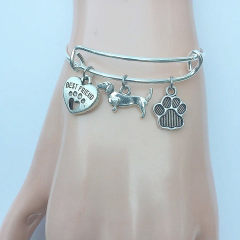 Dachshund My Best friend Adjustable Charms Silver Bangle Bracelet.