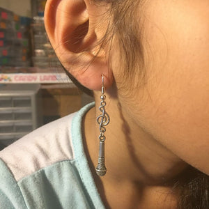 Singer Microphone and Music Note Silver Dangle Earrings.