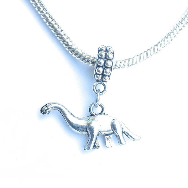 Handcrafted Silver Dinosaur Charm Bead for Bracelet.