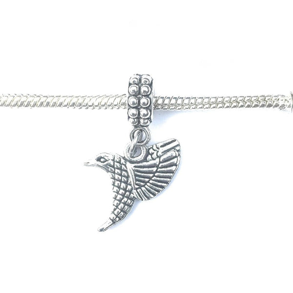 Handcrafted Silver Humming Bird Charm Bead for Bracelet.