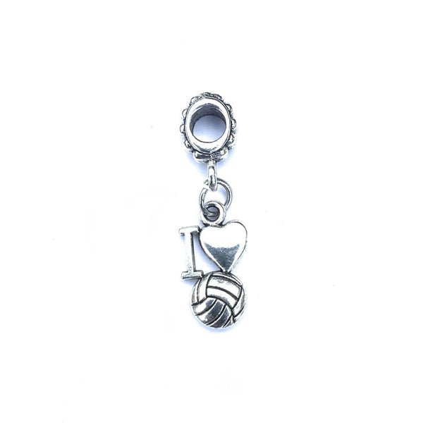 Silver I Love Volleyball Charm Bead for European and American Bracelet.
