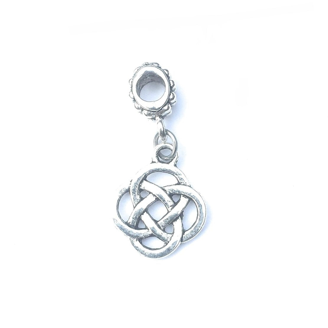 Handcrafted Silver Irish Love Knots Charm Bead for Bracelet.