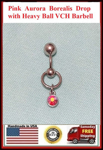 Pink Aurora Borealis Drop VCH Barbell with Heavy Ball for Extra Pressure.