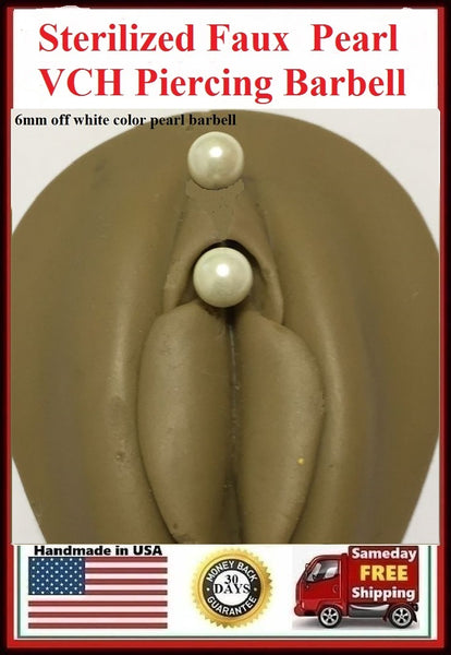 OFF White Faux Pearl Balls Surgical Steel Barbell for Vertical Hood Piercing.