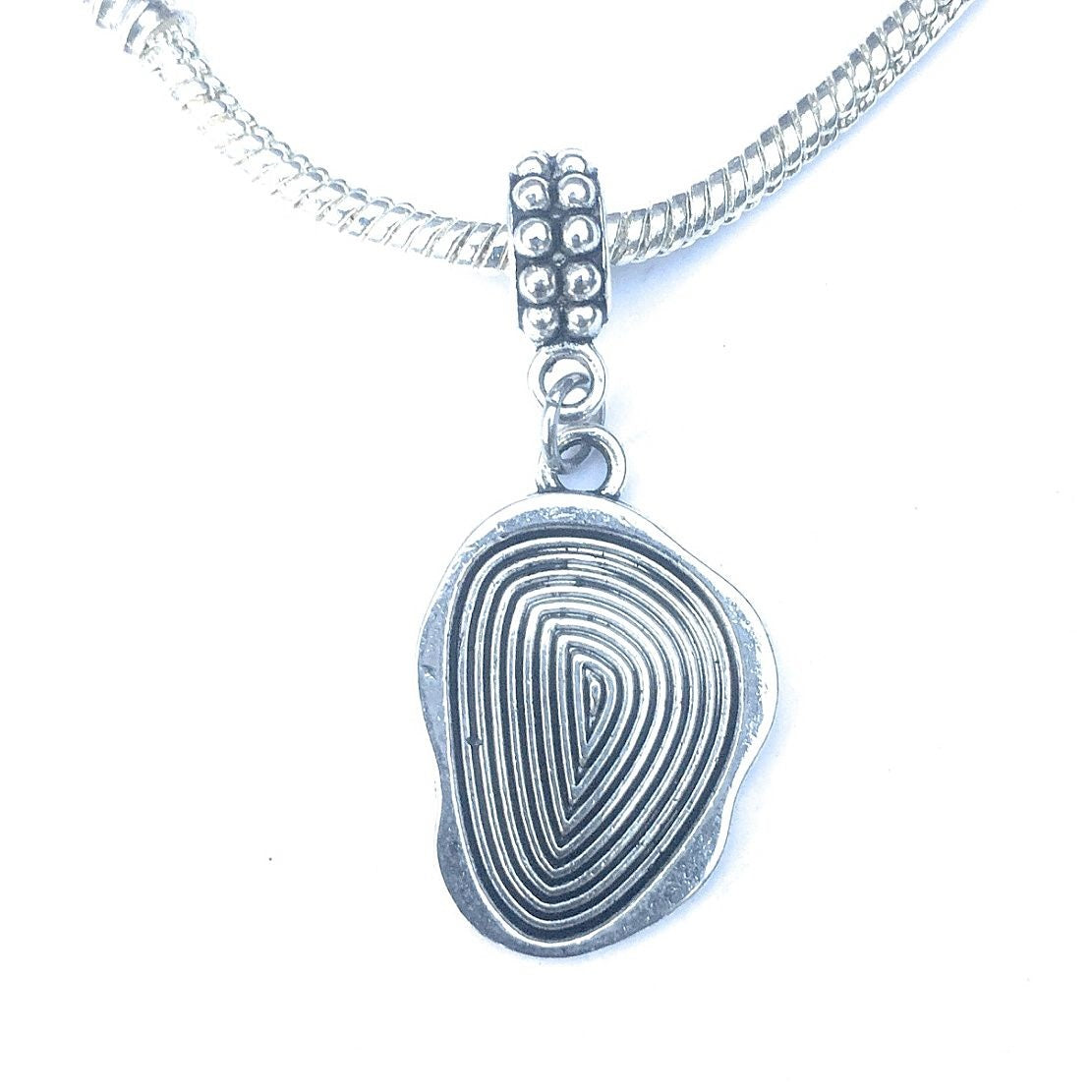 Silver Finger print Charm Bead for Bracelet.