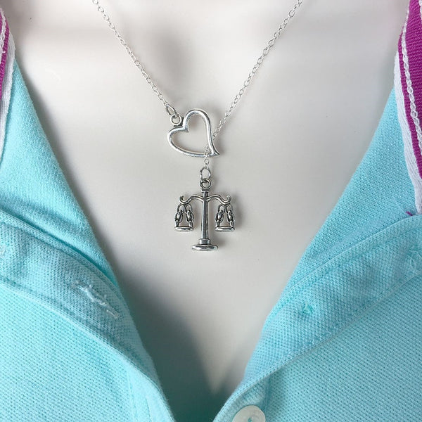 I Love Liberty Scale Handcrafted Silver Lariat Y Necklace.