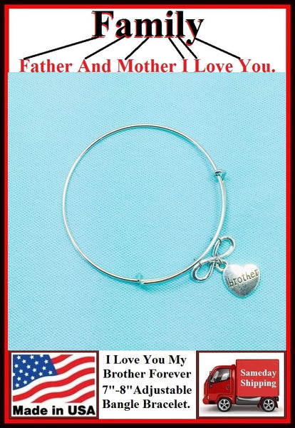 "Handcrafted "" I Love You My Brother Forever"" Charms Bangle."