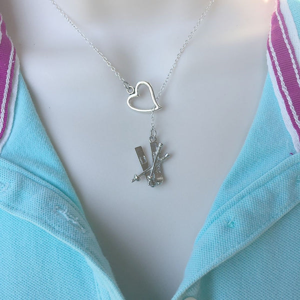 I Love to Ski Silver Lariat Y Necklace.