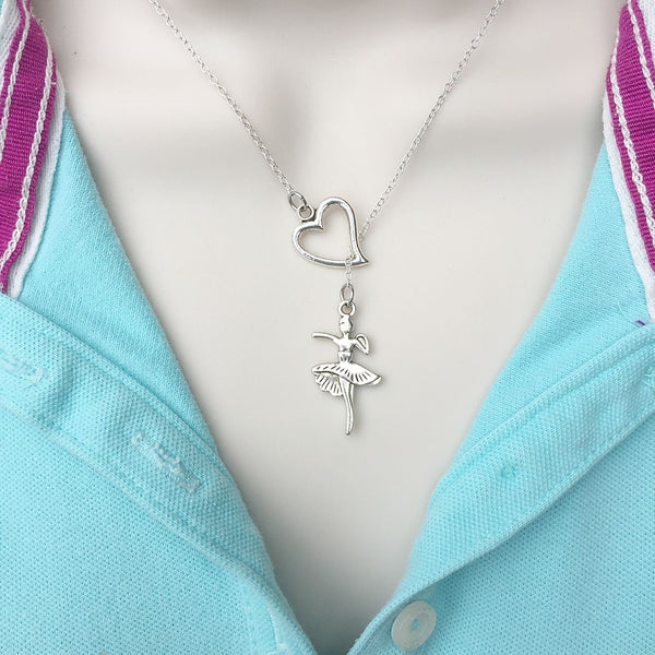 I Love Ballet Handcrafted Silver Lariat Y Necklace.