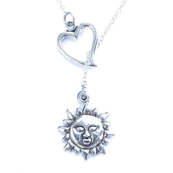 I Love Sun Handcrafted Silver Lariat Y Necklace.