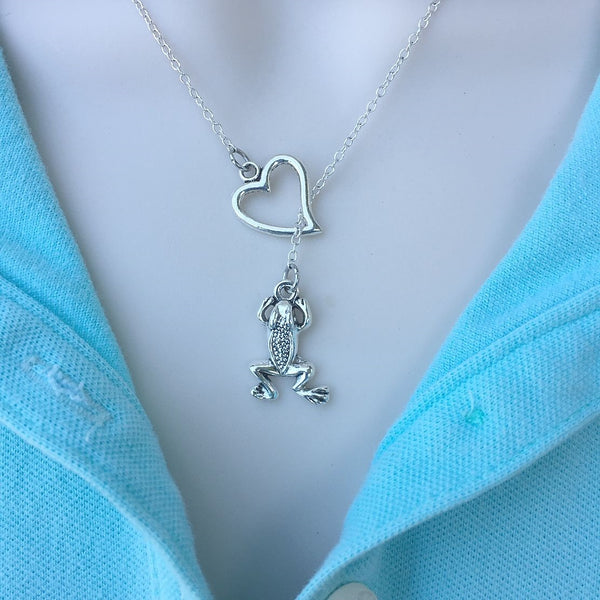 I Love Frogs Handcrafted Silver Lariat Y Necklace.