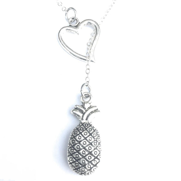 I Love Pineapple Silver Lariat Y Necklace.