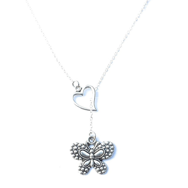 I Love Butterfly Handcrafted Silver Lariat Y Necklace.