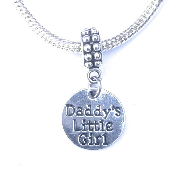 Silver Daddy's Little Girl Charm Bead for Bracelet.