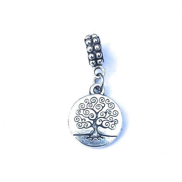 Silver Solid Tree of Life Charm Bead for Bracelet.