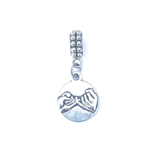 Silver Pinky Promise Charm Bead for Bracelet.