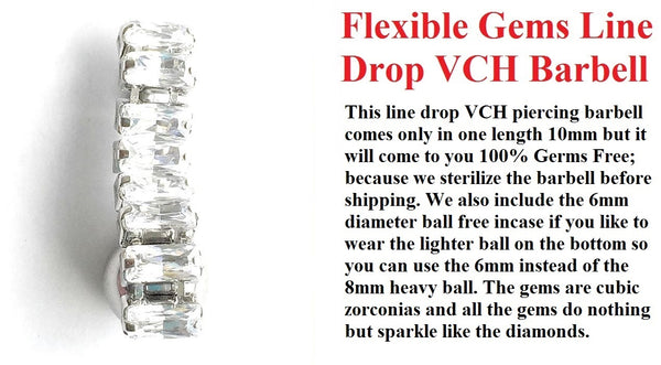 8 Baguettes CZ Line Drop VCH Barbell w Heavy Ball for Extra Pressure.