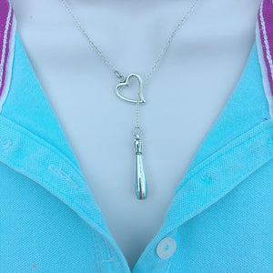 I Love Bowling Silver Lariat Y Necklace.